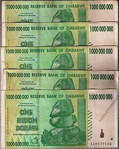 5 x 50 Million Zimbabwe Dollars Bank Notes AA 2008 Currency Paper Money Lot 5PCS