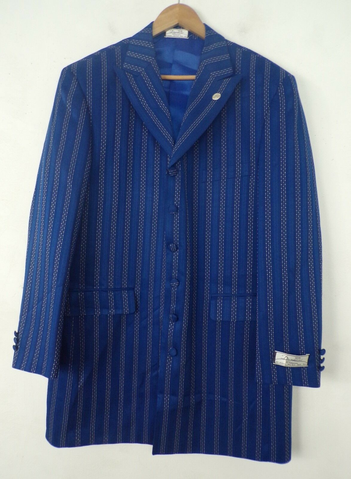 NWT DEN ZEL COLLECTION Mens bluee & White Striped Blazer Sport Coat 42R RV