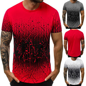 Mens-Short-Sleeve-Summer-Cotton-Floral-T-Shirts-Casual-Tops-Tee-Shirts-Blouse