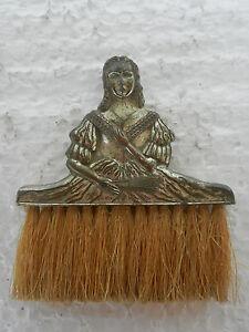 Vintage-Cobre-Niquelado-Victoriano-Senora-Estatuilla-de-Mano-Cepillo-Japon