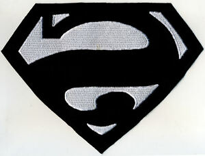 7-034-x-10-034-Fully-Embroidered-Superman-BIZARRO-Chest-Logo-Patch-Black-amp-White