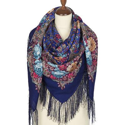 """715-7 authentique Pavlovo Posad Châle 100/% laine 125x125cm russe foulard wrap 49/"""""""