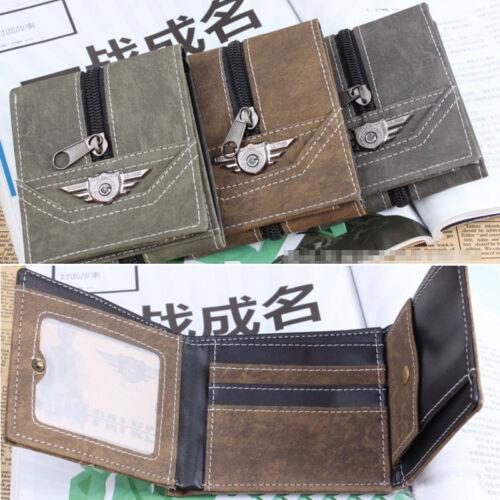 Fashion Boys Trifold Zipper Coin Card Wallet Gift Men New*`