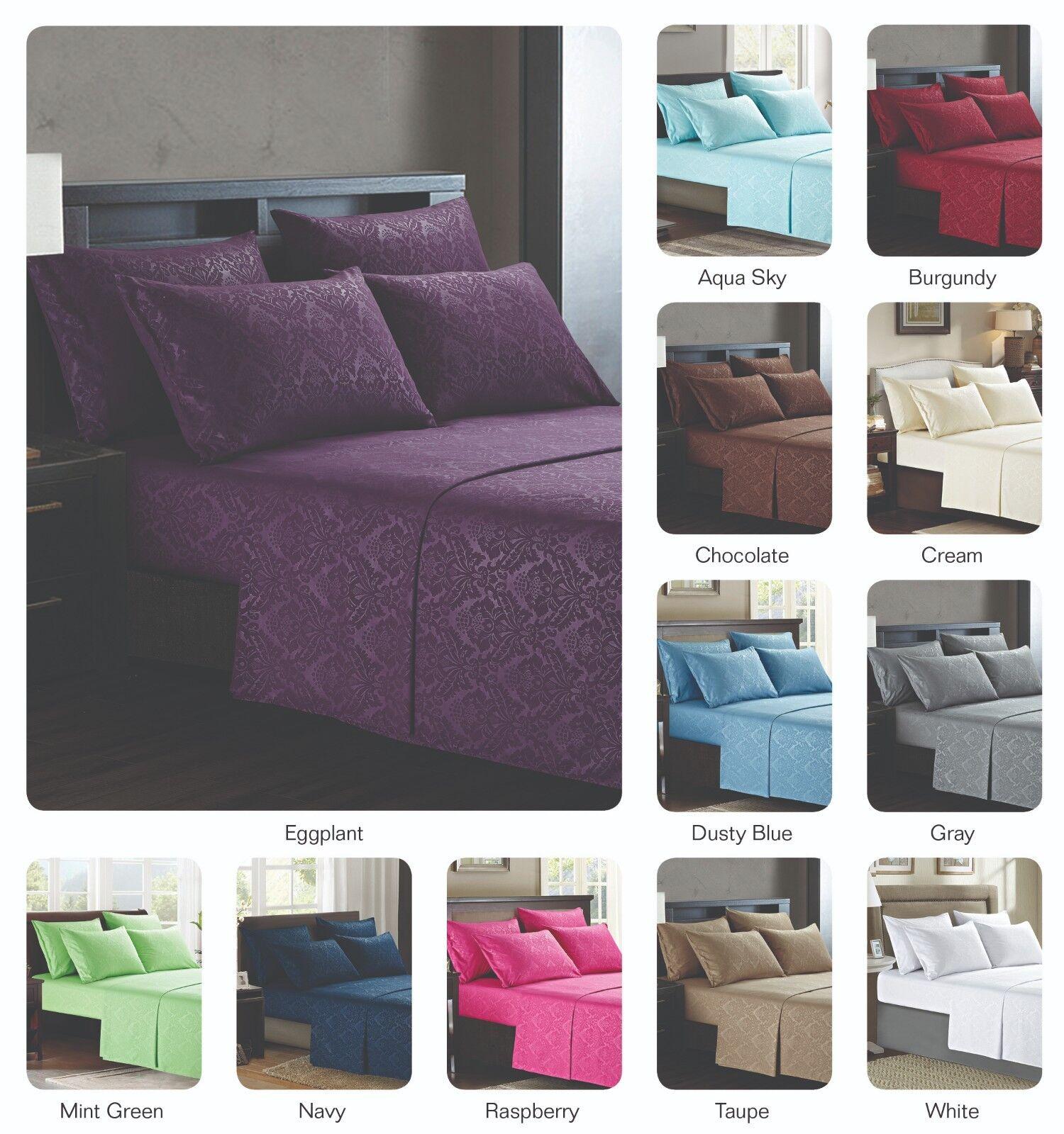 Platinum Hotel Quality Embossed Queen Sheet Set w 4 Pillow Cases Navy blu Dark