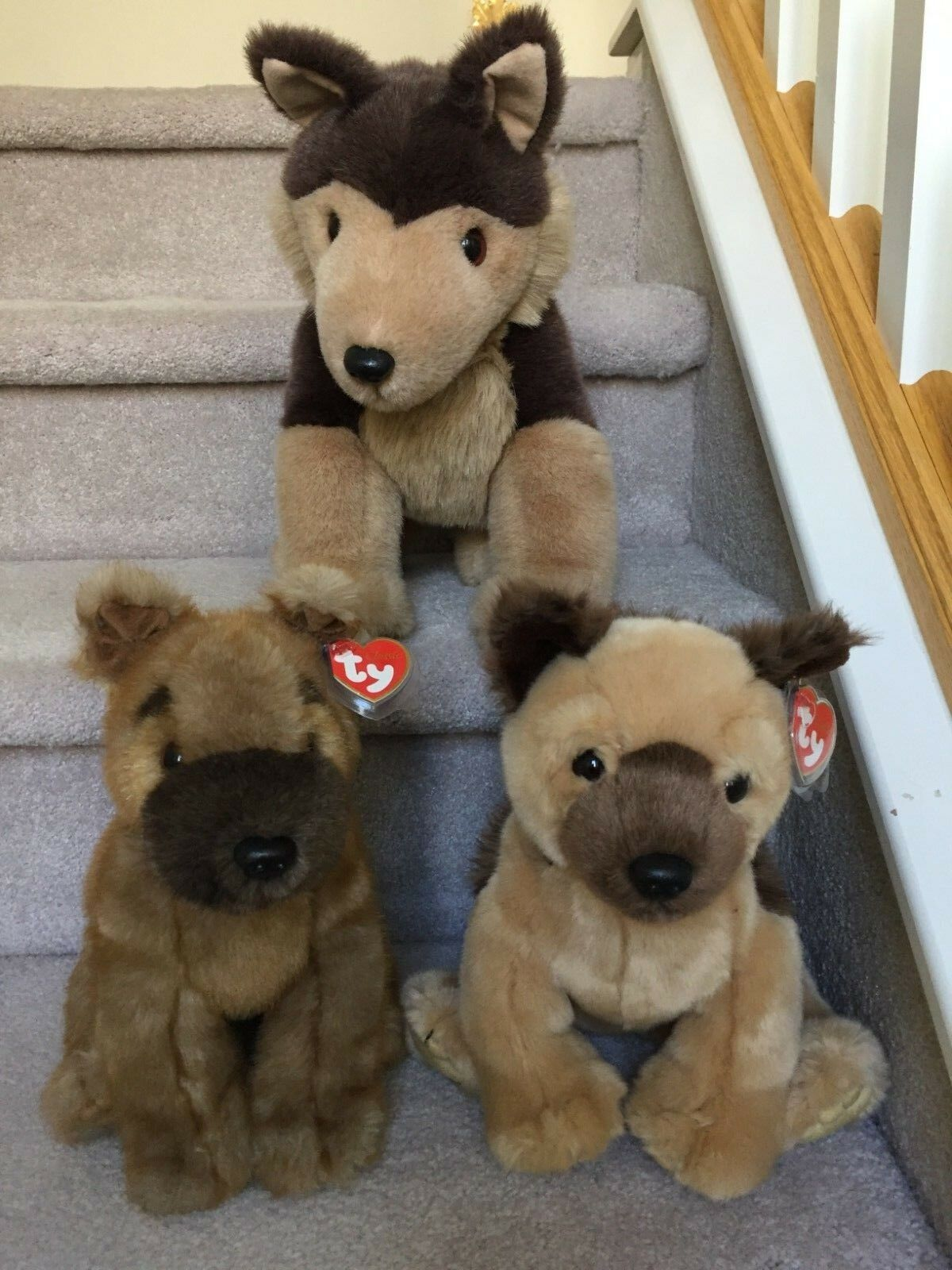 3 Rare Ty Classic German Sheperd Dogs Sarge, Sheriff and Schultzie