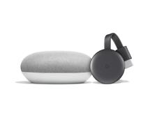 Google Chromecast 3rd Generation and Google Home Mini Bundle - Chalk