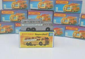 Vintage-Matchbox-Lesney-No66-Greyhound-Coach-Clear-Windows-Rare