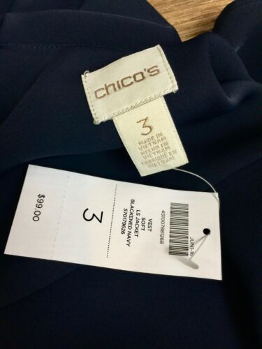 XL CHICO/'S  $107 NWT BLACKENED NAVY WRAP VEST SIZE 3