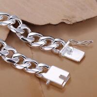 Mens Jewellery Crub Link Chain Charm Bracelet 925Sterling Silver LKNSPCH037