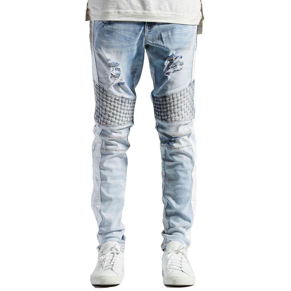 Embellish Bolt Turkish Biker Denim Jeans Weiß