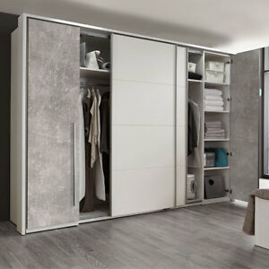 schwebet renschrank match 2 dreht ren schrank 315 cm kleiderschrank wei beton 5901738015029 ebay. Black Bedroom Furniture Sets. Home Design Ideas