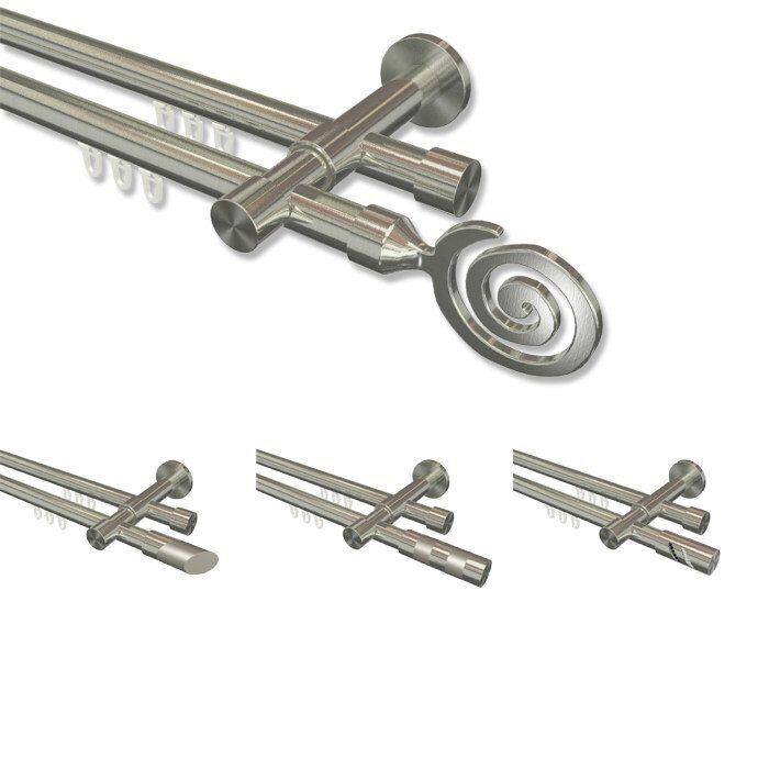 Innenlauf-Gardinenstangen in Edelstahl-Optik Edelstahl-Optik Edelstahl-Optik mit 20 mm Ø, 2-läufig Komplettset  | Auf Verkauf  6c0bff