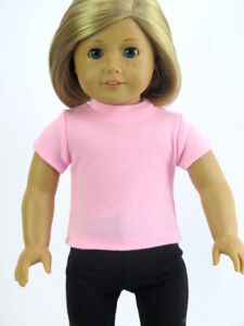 Pink T-Shirt fits American Girl Dolls 18 inch Doll Clothes Short Sleeve
