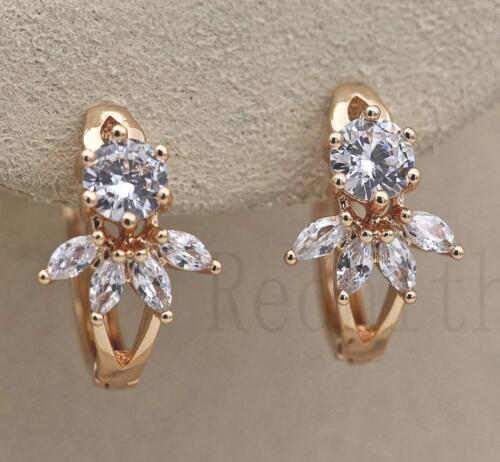 18K Gold filled-Fleur Oeil de Tigre Topaze Zircon creux Lady Parti Boucles d/'oreilles Créoles