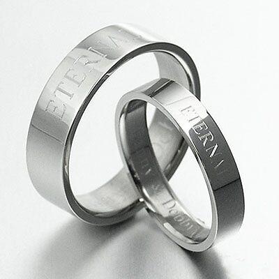 FREE ENGRAVE Bride Groom Silver Wedding Anniversary Bands Titanium Ring 4m SzH-S