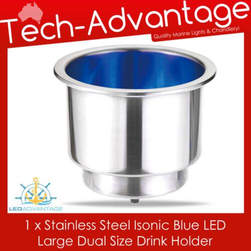 STAINLESS STEEL BLUE LED CARAVAN//BOAT//MOTOR HOME//WINE//BOTTLE//CUP//DRINK HOLDER