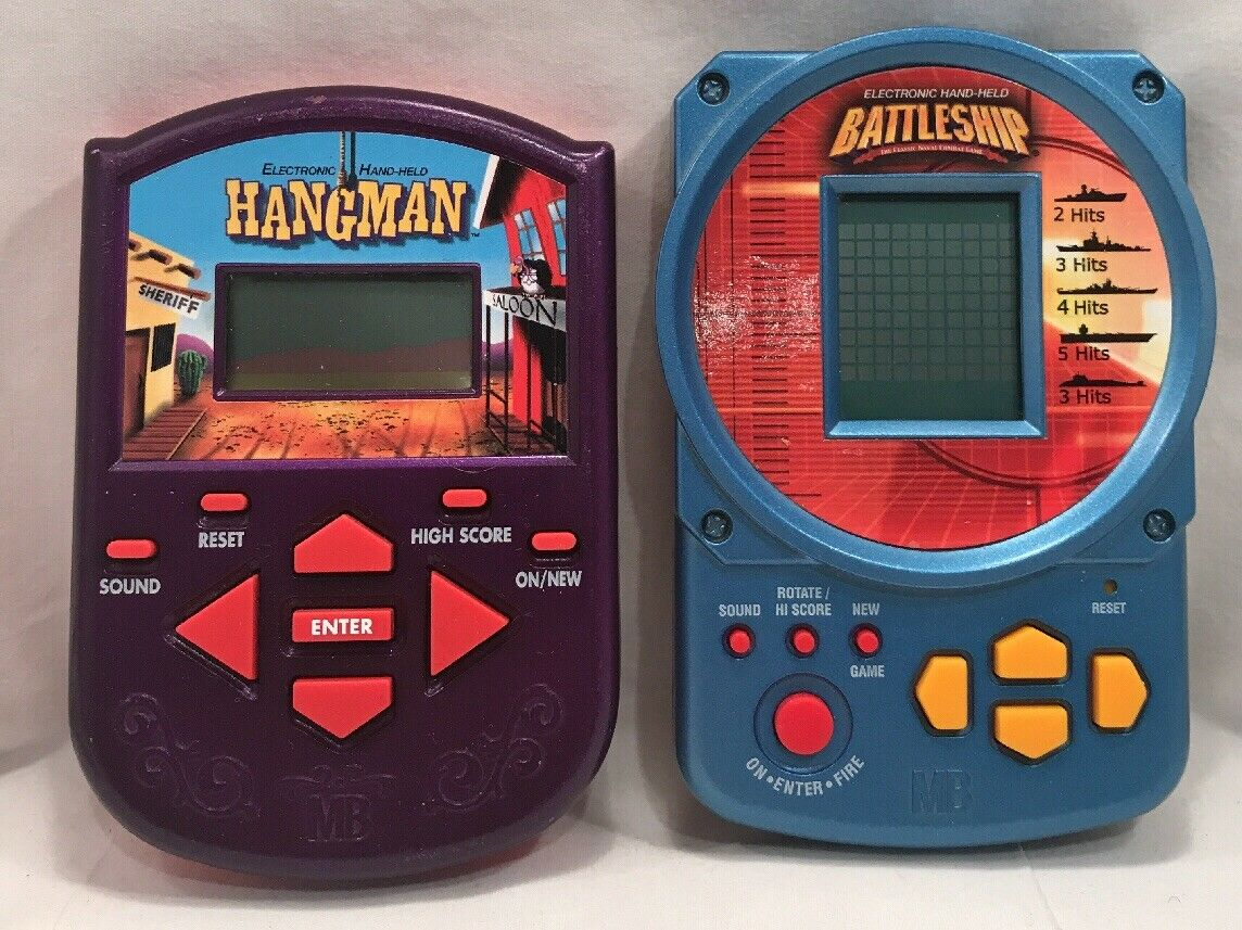 Lot Of 2 Handheld Electronic Games Battleship, Hangman. Hasbro MB