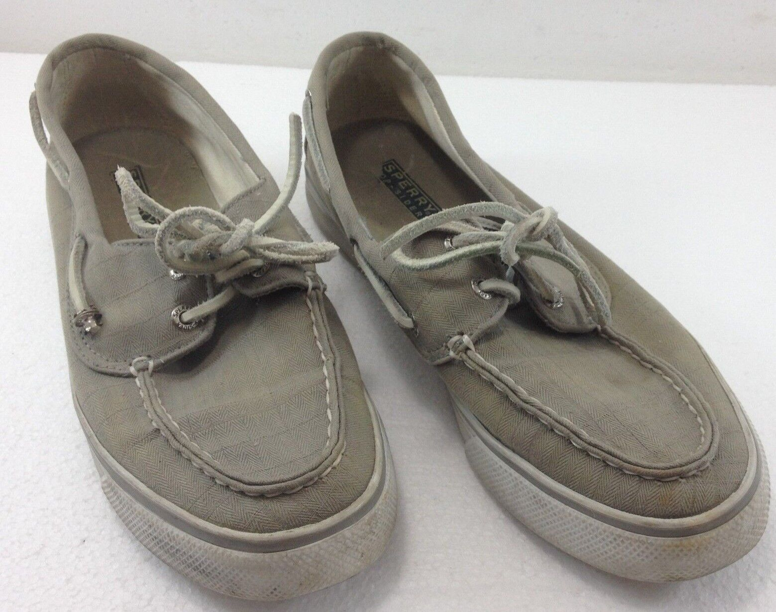 Sperry Top-Sider Womens 7.5M Meters Lacing Canvas Boat shoes Lt Green 9447012