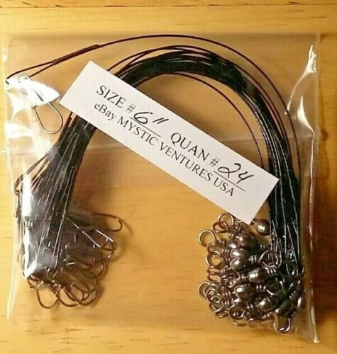 "24ct 6/"" BLACK Steel COATED 7 STRAND BRAIDED Fishing Leaders Snaplock 30lb"