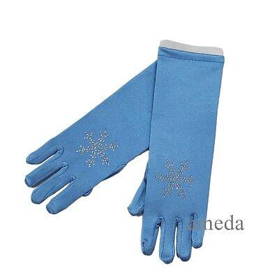 New Kids Girls Elsa Princess Rhinestone Snowflake Blue Gloves Costume
