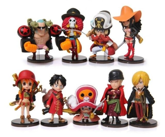 One Piece The New World Luffy Zero Brook Japanese Anime PVC Figures Toy Set  9PCS