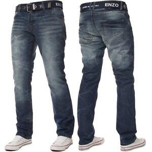 ENZO-Para-Hombre-de-Disenador-de-pierna-recta-Denim-Jeans-Regular-Fit-Gratis-Cinturon-King-Tamanos