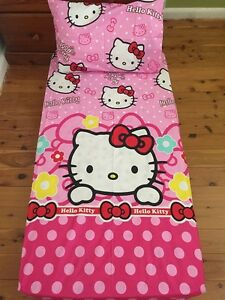 New-Pink-Polkadot-Hello-Kitty-Cot-Fitted-Sheet-Pillowcase