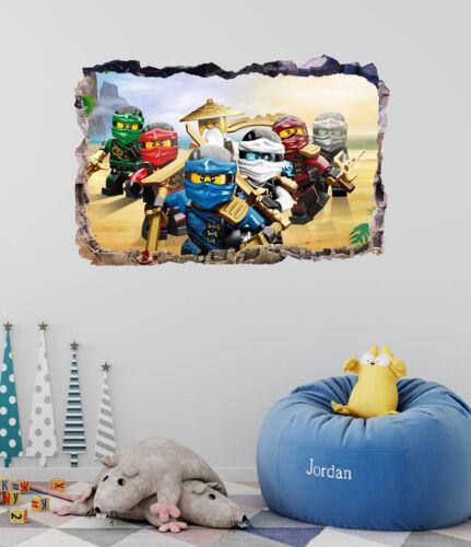 Lego Ninjago Smashed 3D Wall Decal Movie Mural Art Home Decor Vinyl DA112