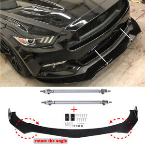 For Ford Mustang GT Focus Mondeo Front Bumper Lip Splitter Spoiler + Strut Rods