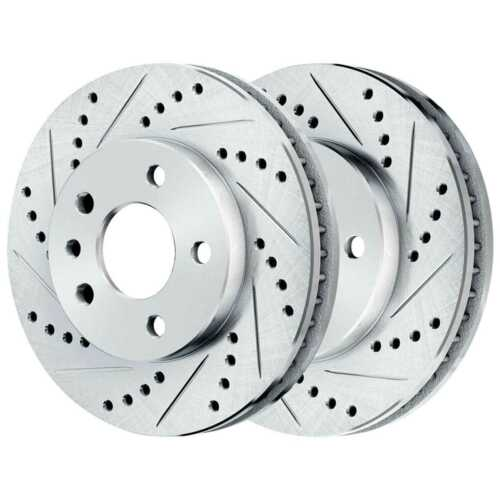 Front Rear Drilled Slotted Rotors Ceramic Pads for 2011-2019 Explorer Silver