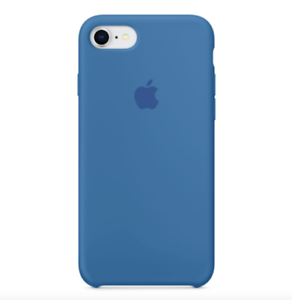 iPhone-8-7-SE-2020-4-7-Apple-Echt-Original-Silikon-Schutz-Huelle-Denim-blau