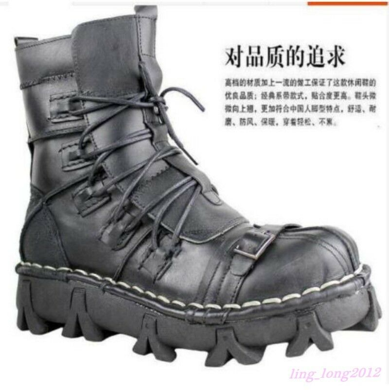 Combat Uomo Genuine Pelle Skull Skull Pelle Motor Casual Military Ankle Boot Lace Up Shoes 88611e