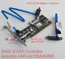 Adaptec aar-2410sa/64m S-ATA SATA RAID 0 1 5 10 Controller + 2x cables top ok!