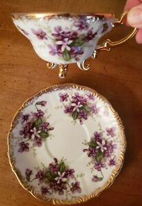 Charming-Vintage-Trimont-China-Violets-Three-Footed-Tea-Cup-and-Saucer-Japan