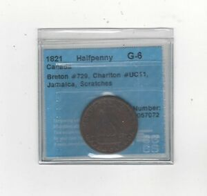 1821-Canadian-Halfpenny-Token-Breton-729-Ch-UC11-CCCS-Graded-G-6-Scr