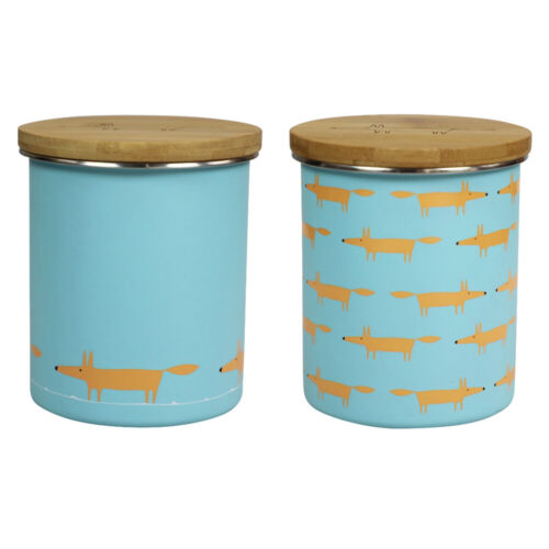 Scion Mr Fox Bleu Lot de 2 boîtes de rangement cuisine thé café sucre contenants