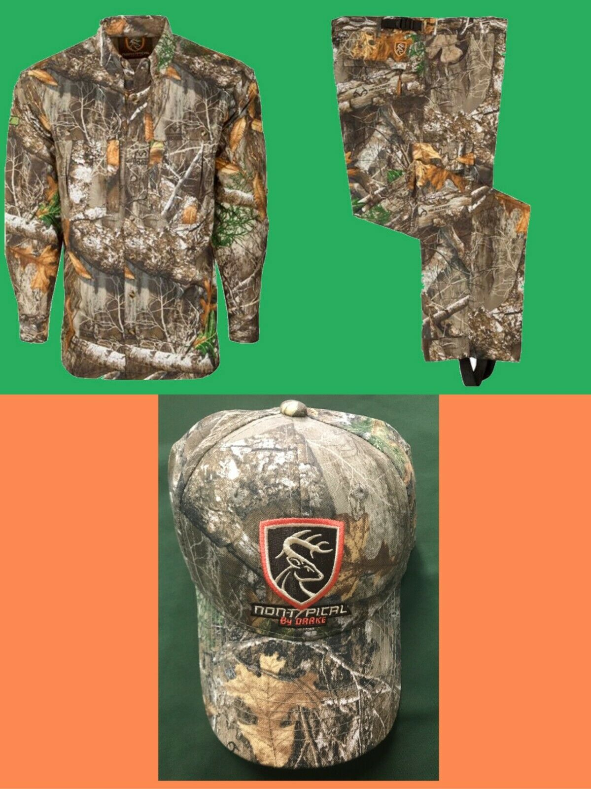 DRAKE NON-TYPICAL Dura-Lite RealTree EDGE COMBO  LARGE Shirt, Pants & Hat NWT  best sale
