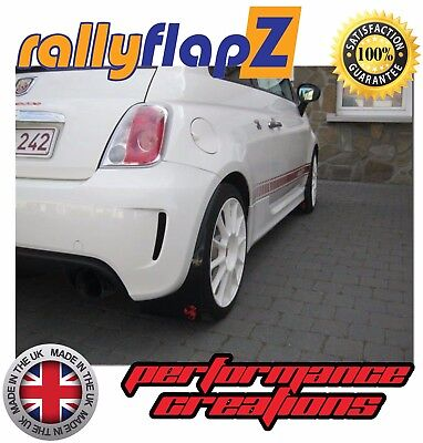 Rallyflapz 4mm PVC Mudflaps Fiat 500 Abarth 2008 on Black Red Scorpion Logo