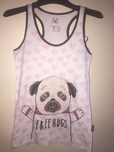 PRIMARK HUG A PUG DOG PUGS KISSES PJS PYJAMAS OR VEST T SHIRT TOP LEGGINGS PANTS