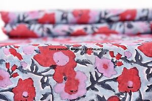 2-5-Yard-Indian-Cotton-Block-Printed-Dresses-making-Sewing-Fabric-Floral-Art