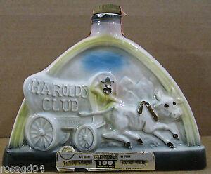 1969-Jim-Beam-Harolds-Club-Miller-Whiskey-Liquor-Wine-Decanter-Bottle-Empty-L1