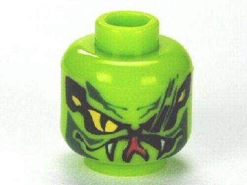 LEGO Minifig -  Lime Green Lasha Head Alien with Yellow Snake Eyes