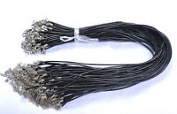 2.5MM 5Pcs Real Black Leather Necklace Cord 45Cm  GK191
