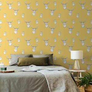 Lansfield-Papier-Peint-Ochre-Muriva-Cerf-Tetes-165510