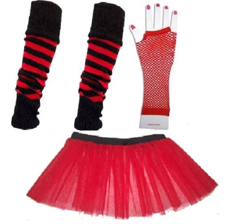 Child Neon Tutu Gloves Legwarmers Plain or Striped Fancy Dress