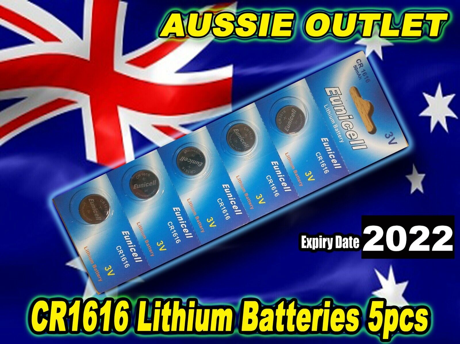 Fast Delivery CR1616 Lithium Cell Batteries 3 Volts - 5 pcs - Aussie Outlet NSW