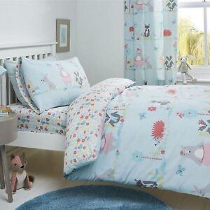 Kids-Duvet-Covers-Blue-Woodland-Animals-Cute-Reversible-Print-Quilt-Bedding-Sets