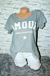 Italy-T-Shirt-Vintage-Gr-36-38-40-42-Shirt-Puder-grau-blogger-Amour-Print