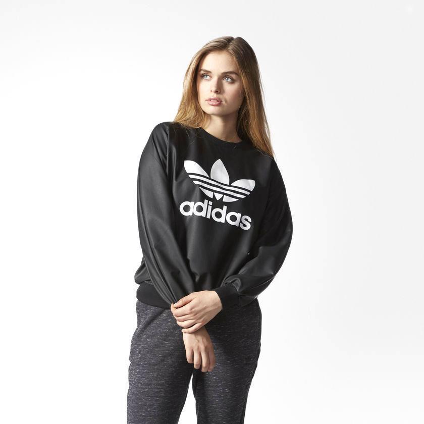 adidas Trefoils Originals Rare damen Wet Look Sweater rrp AY9463