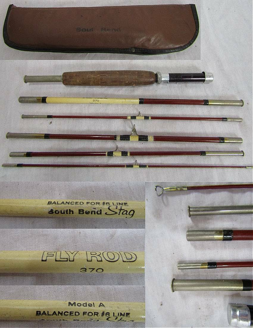SOUTH BEND STAG MODEL A 370 6pc FLY ROD FISHING ROD w case